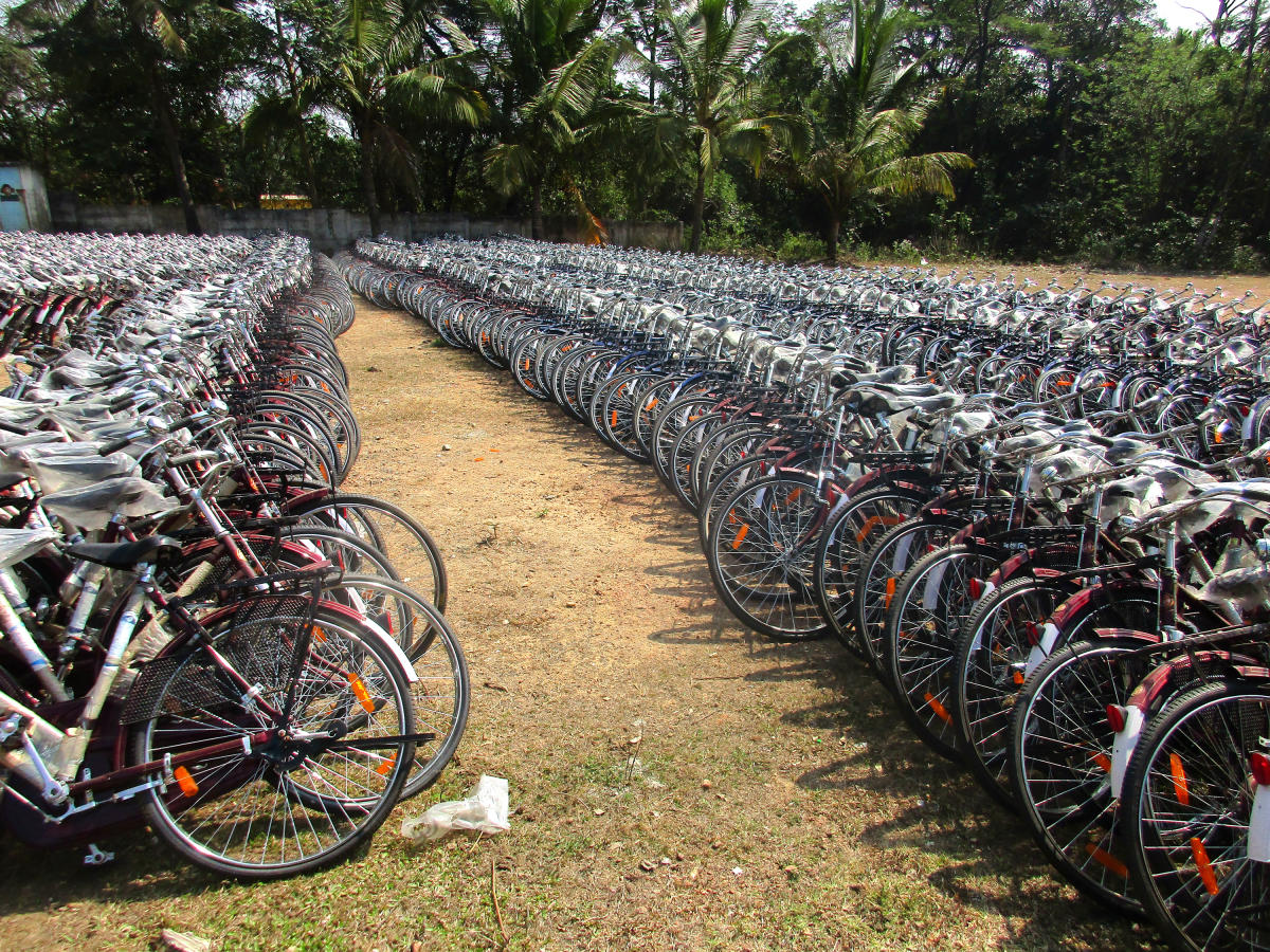 The bicycles parked at a government school ground in NR Pura.