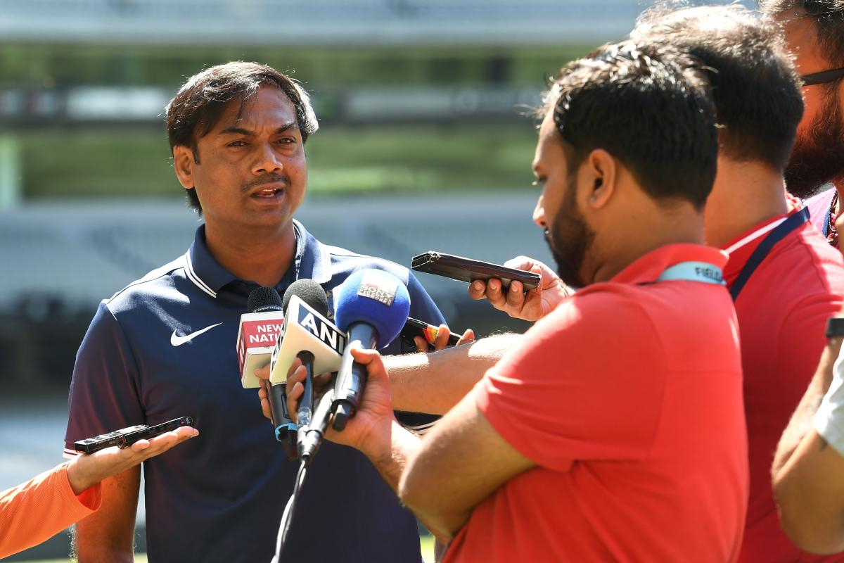 ndia's chairman of the selectors MSK Prasad (left) speaks to the media after a training session in Melbourne on Sunday. AFP