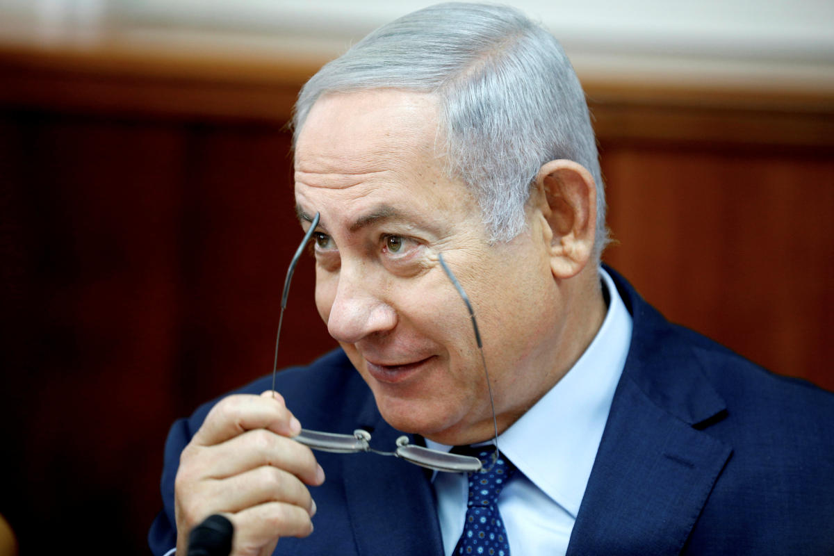 Israeli Prime Minister Benjamin Netanyahu attends the weekly cabinet meeting at his office in Jerusalem. Reuters file photo.