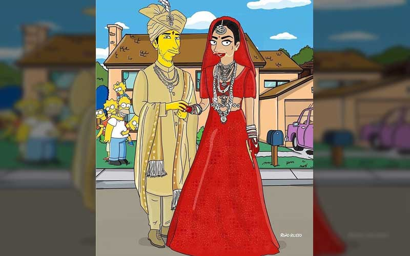 The Simpsons cartoon on Priyanka Chopra and Nick Jonas wedding. (Credit: Priyanka Chopra/Instagram)