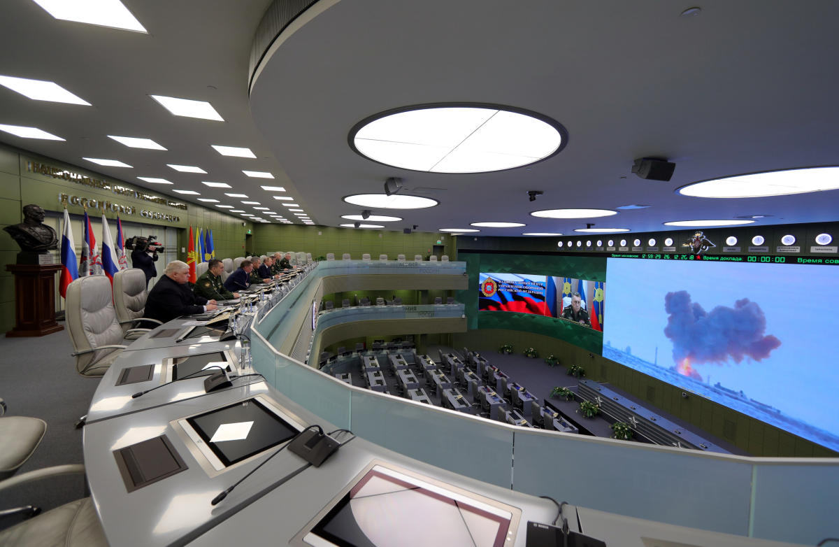 Russia's President Vladimir Putin visits the National Defence Control Centre (NDCC) to oversee the test of a new Russian hypersonic missile system called Avangard, which can carry nuclear and conventional warheads, in Moscow, Russia. (Reuters Photo)