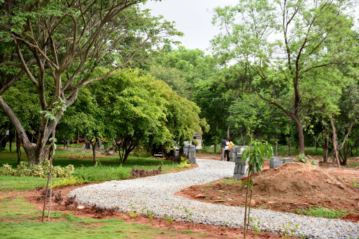 Tree park at Hennur, Outer ring road in Bengaluru on Saturday. DH Photo/ B K Janardhan