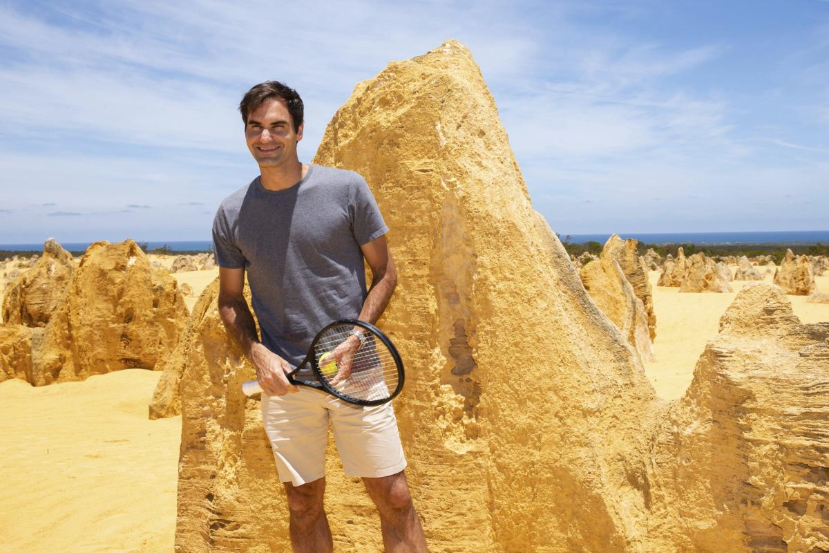 Swiss star Roger Federer at the Pinnacles in Nambung National Park, Western Australia, on Thursday. AP/ PTI
