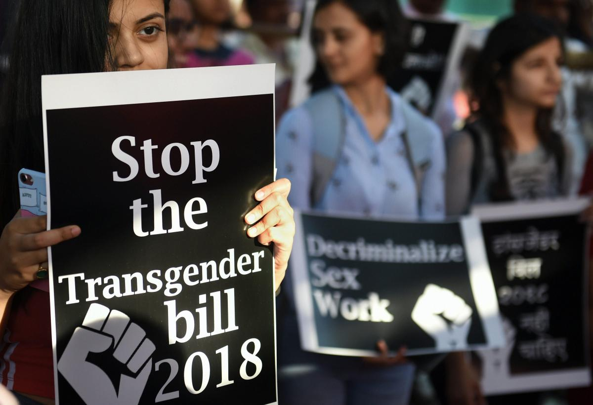 LGBT community members and supporters protest against the Trafficking of Persons Bill, 2018 and Transgender Persons Bill, 2018, in Mumbai. (PTI Photo)