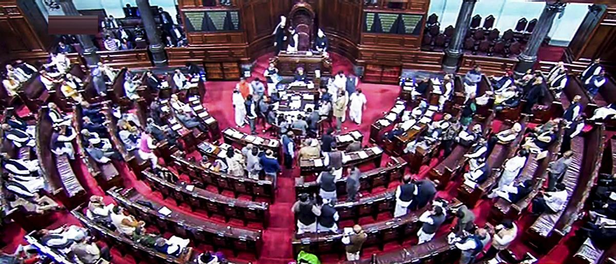 Slogan shouting members of Tamil parties -- AIADMK and DMK trooped -- into the well of the House over the construction of the Mekadatu Dam on the Cauvery River.