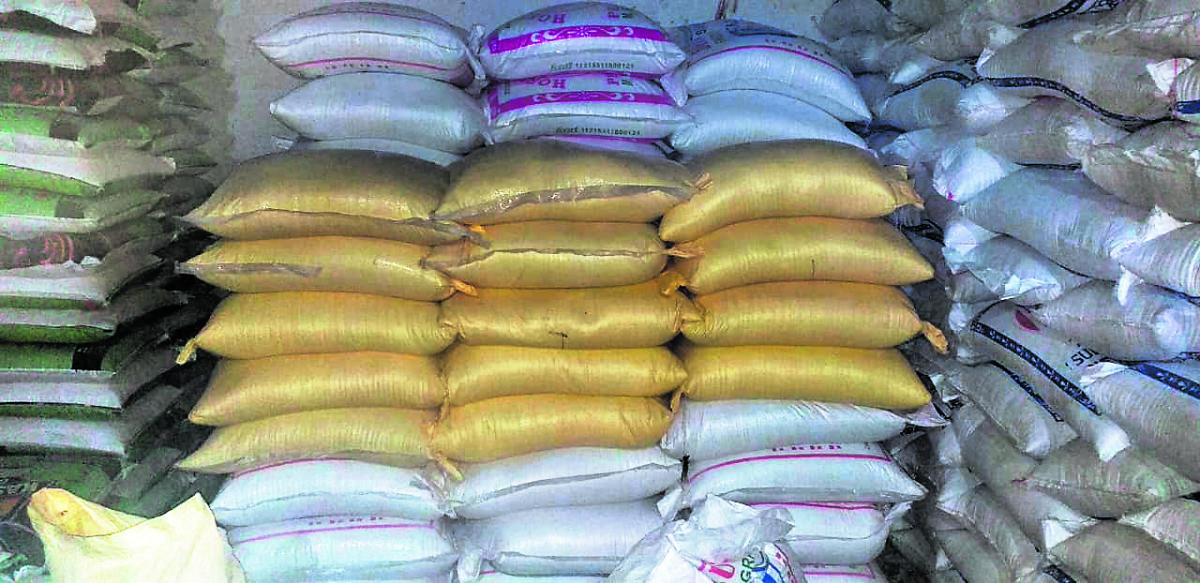Rice, pulses and powdered milk worth over Rs 10.47 lakh stocked illegally in a godown in Dambel.