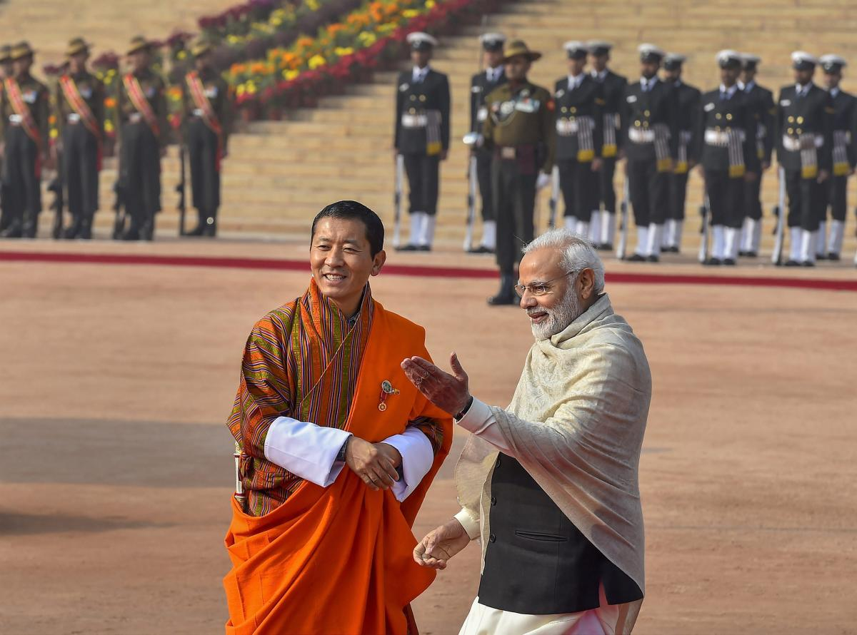 Prime Minister Narendra Modi with Bhutanese Prime Minister Lotay Tshering during his ceremonial reception at Rashtrapati Bhawan, in New Delhi. (PTI Photo)