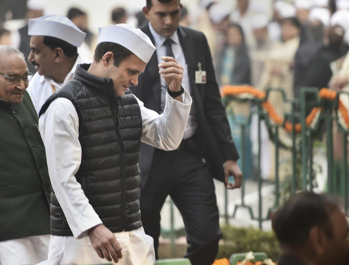 Congress President Rahul Gandhi at the party HQ on the 134th Congress Foundation Day, in New Delhi, on Friday. (PTI Photo)