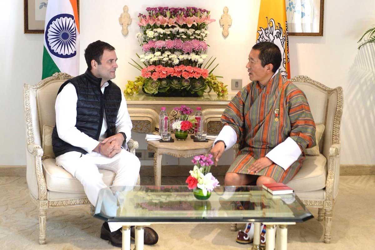 Congress President Rahul Gandhi meeting Bhutan Prime Minister Lotay Tshering on Saturday. (Rahul Gandhi/Twitter)