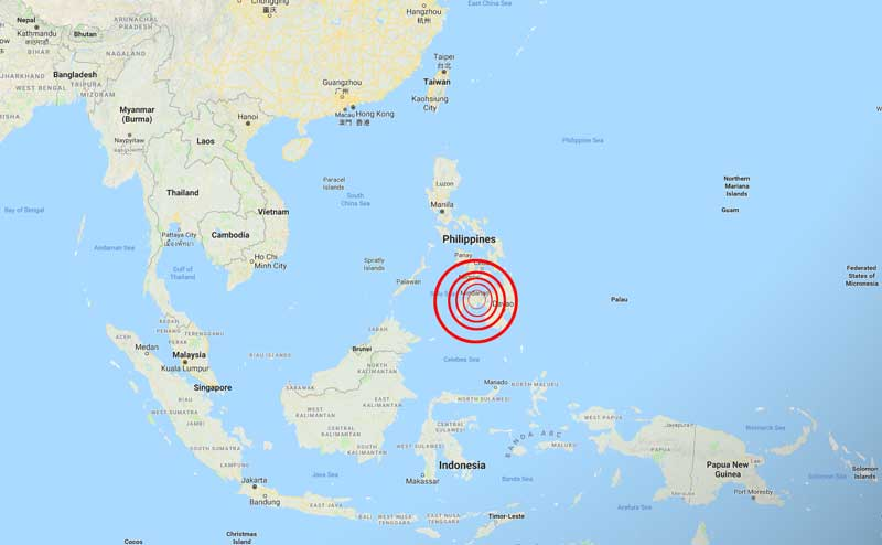 The quake struck southeast of Davao City at a depth of 59 kilometres