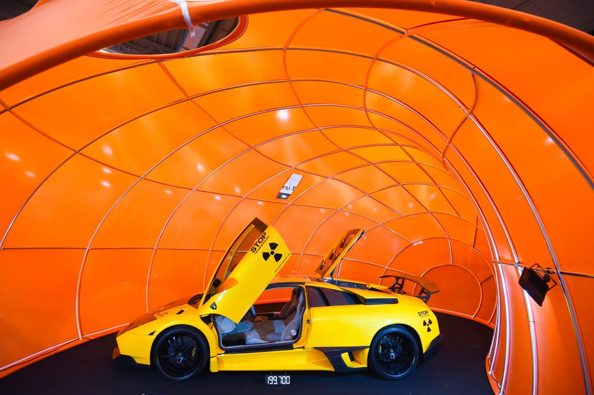 A Lamborghini car is on display at the 'Essen Motor Show' fair in Essen, western Germany, on November 30, 2018. - According to the organisers, more than 500 exhibitors will present their innovations and premieres at the fair grounds in Essen from December