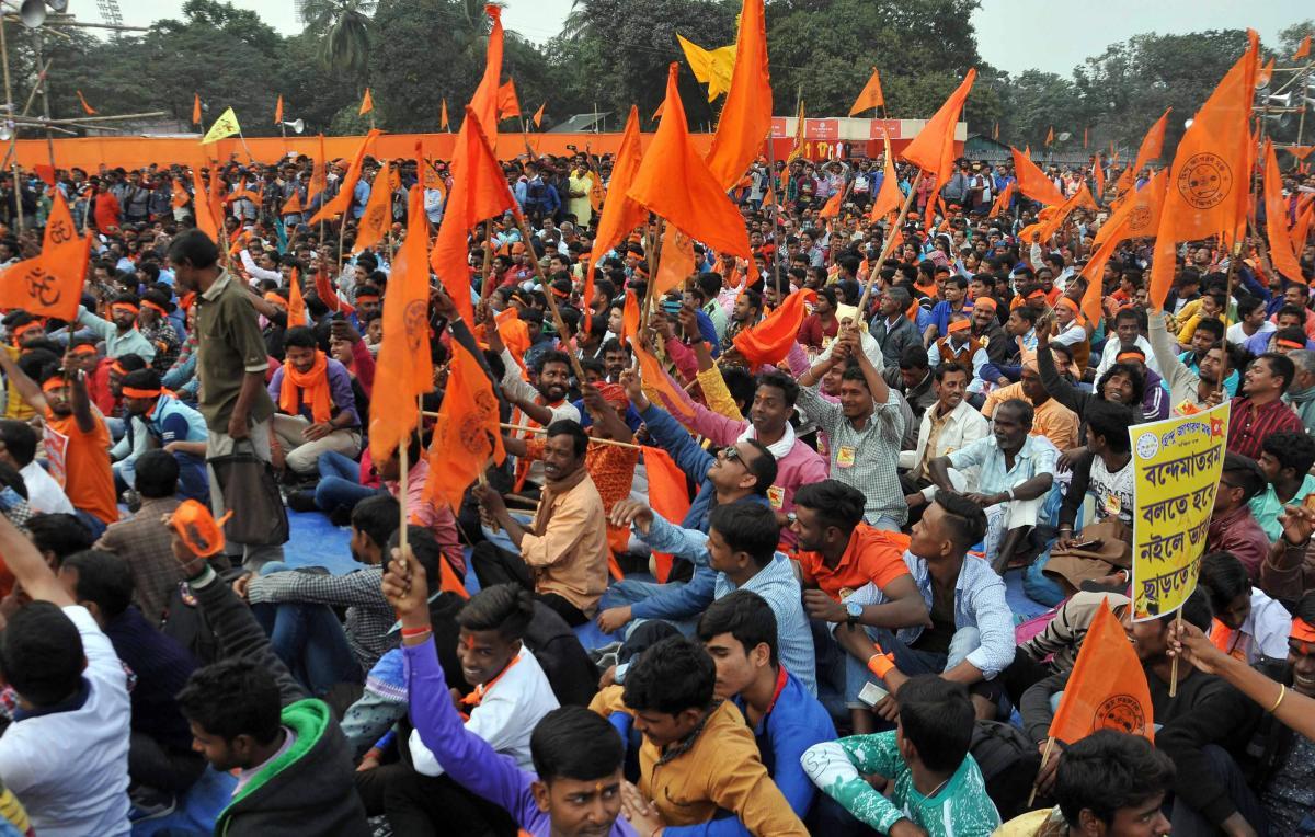 Members of Hindu Jagaran Manch during a rally at Shahid Minar Maidan, in Kolkata, on December 15, 2018. PTI