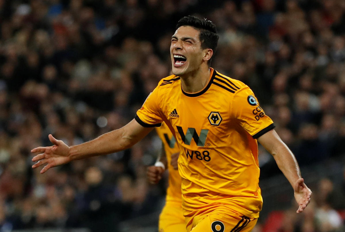 Wolverhampton Wanderers' Raul Jimenez celebrates after scoring against Tottenham Hotspur on Saturday. Reuters