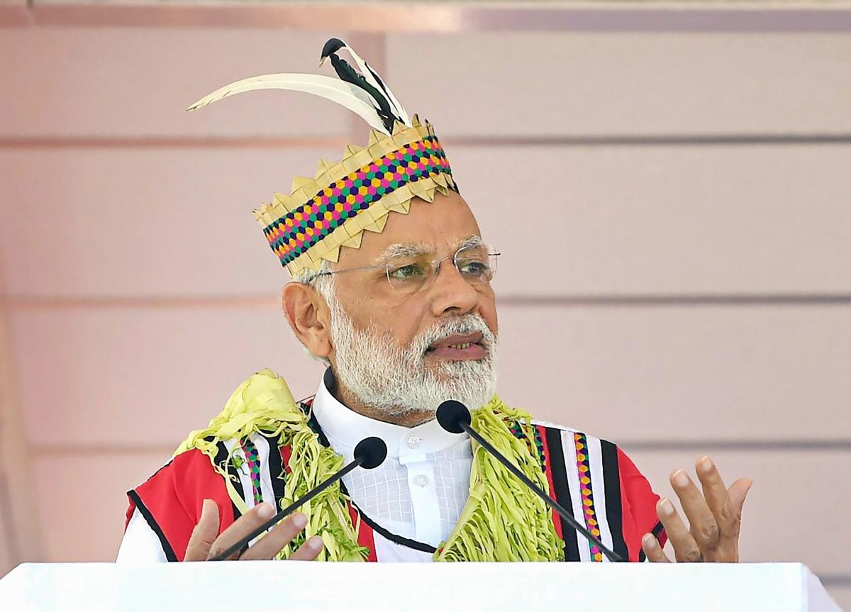 Prime Minister Narendra Modi addresses a public meeting, at Car Nicobar. (PIB Photo via PTI)