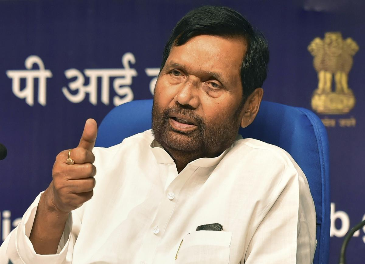 Food and Civil Supplies Minister Ram Vilas Paswan at a press conference about the achievements of his ministry in the last 4 years of the NDA government, in New Delhi on Tuesday. PTI