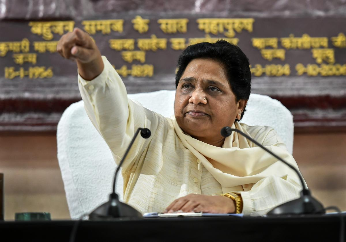 BSP supremo Mayawati addresses a press conference in Lucknow on Sunday. PTI