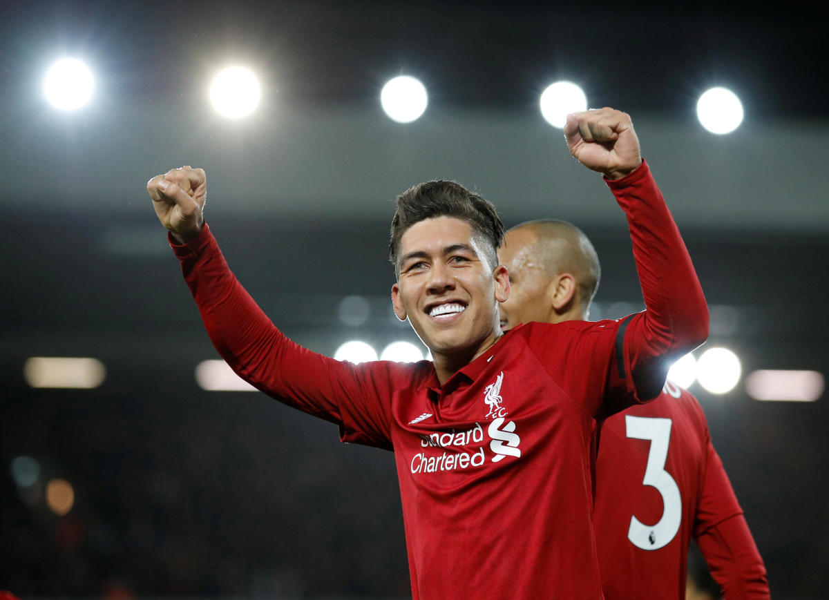 Soccer Football - Premier League - Liverpool v Arsenal - Anfield, Liverpool, Britain - December 29, 2018 Liverpool's Roberto Firmino celebrates scoring their fifth goal REUTERS/Phil Noble EDITORIAL USE ONLY. No use with unauthorized audio, video, data, fi