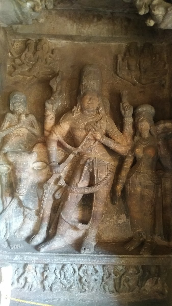 A sculpture in a cave temple in Badami