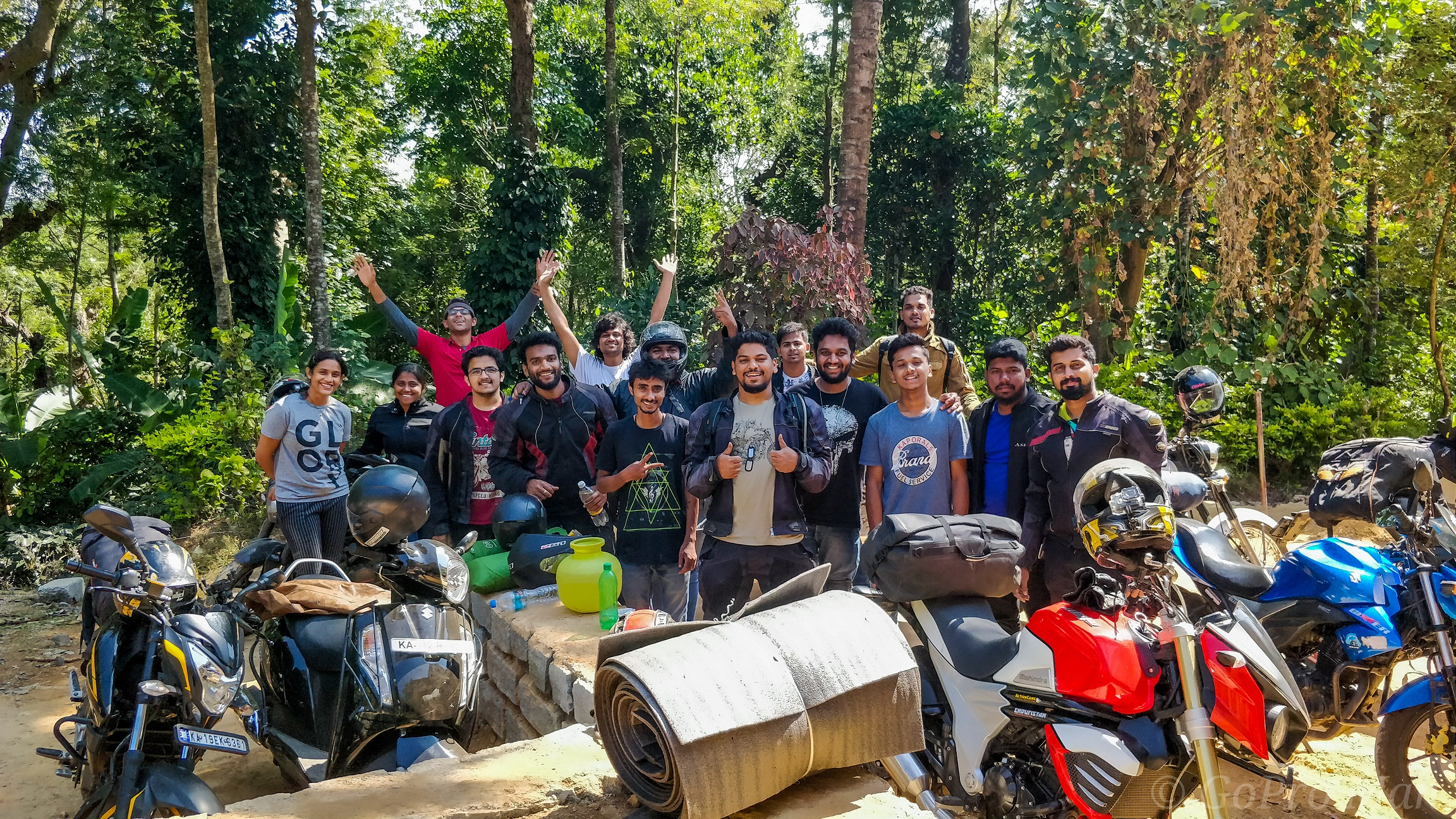 Arun (middle, front row) with his biker friends at Madikeri.