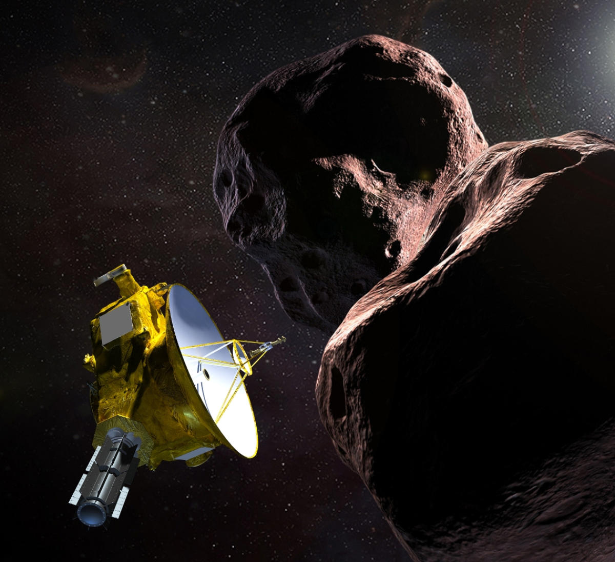 """This artist's illustration obtained from NASA on December 21, 2018 shows the New Horizons spacecraft encountering 2014 MU69 – nicknamed """"Ultima Thule"""" – a Kuiper Belt object that orbits one billion miles beyond Pluto. (Photo by HO / NASA/JHUAPL/SwRI / AFP)"""