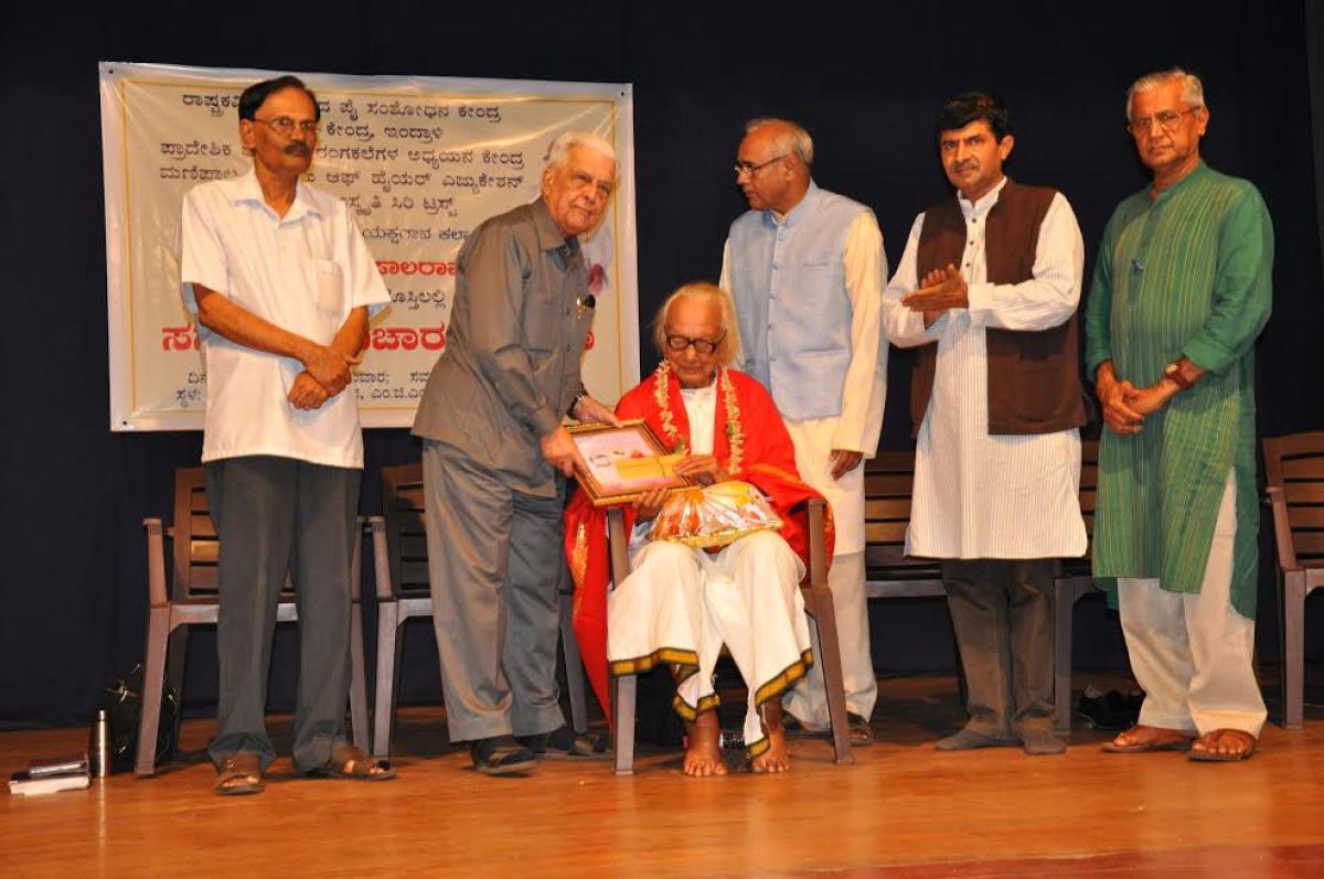 Yakshagana artiste Hiriyadka Gopala Rao was felicitated in Udupi.
