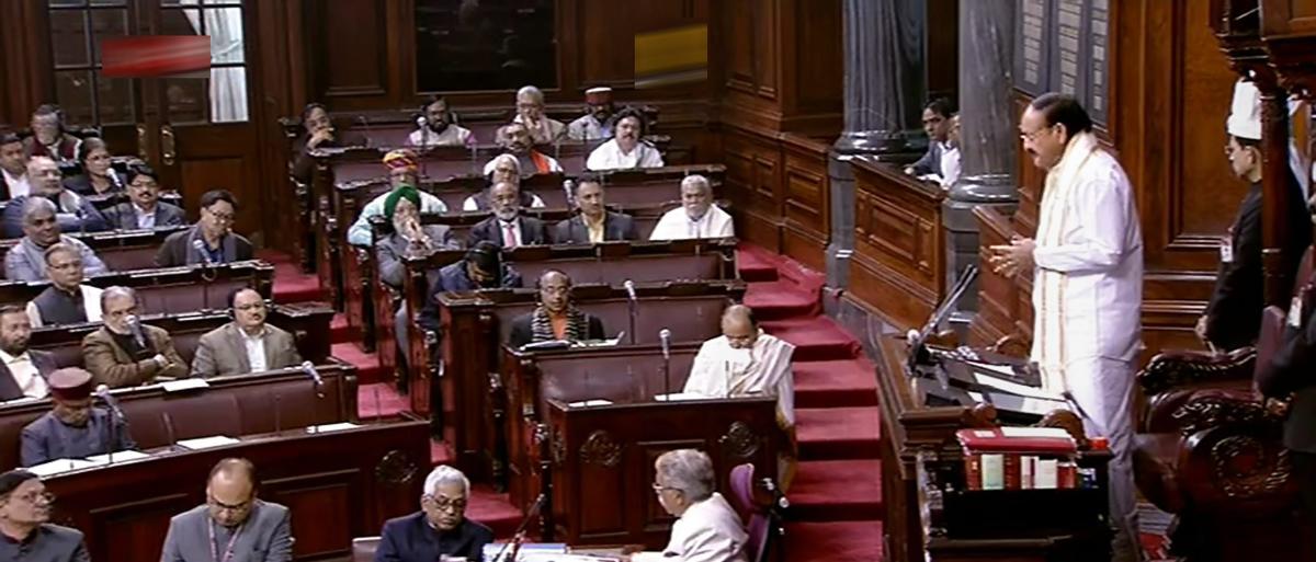 Vice President M Venkaiah Naidu speaks in the Rajya Sabha during Winter Session of Parliament in New Delhi. PTI