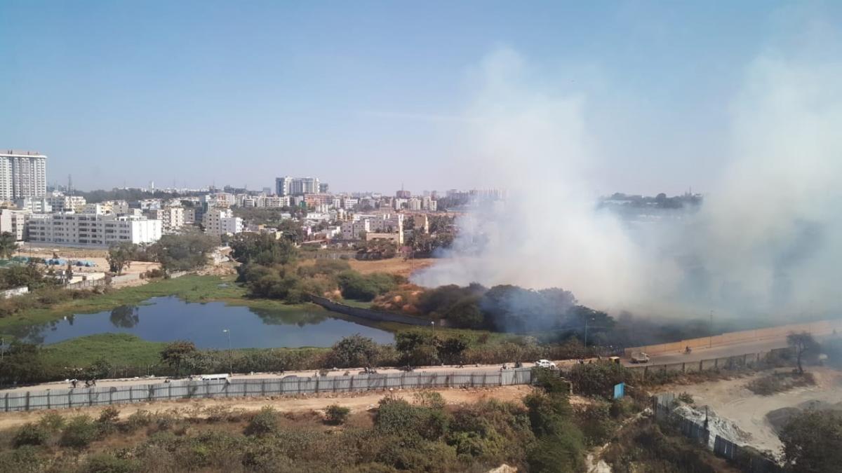 Smoke seen near the waterbody at Mahadevapura.