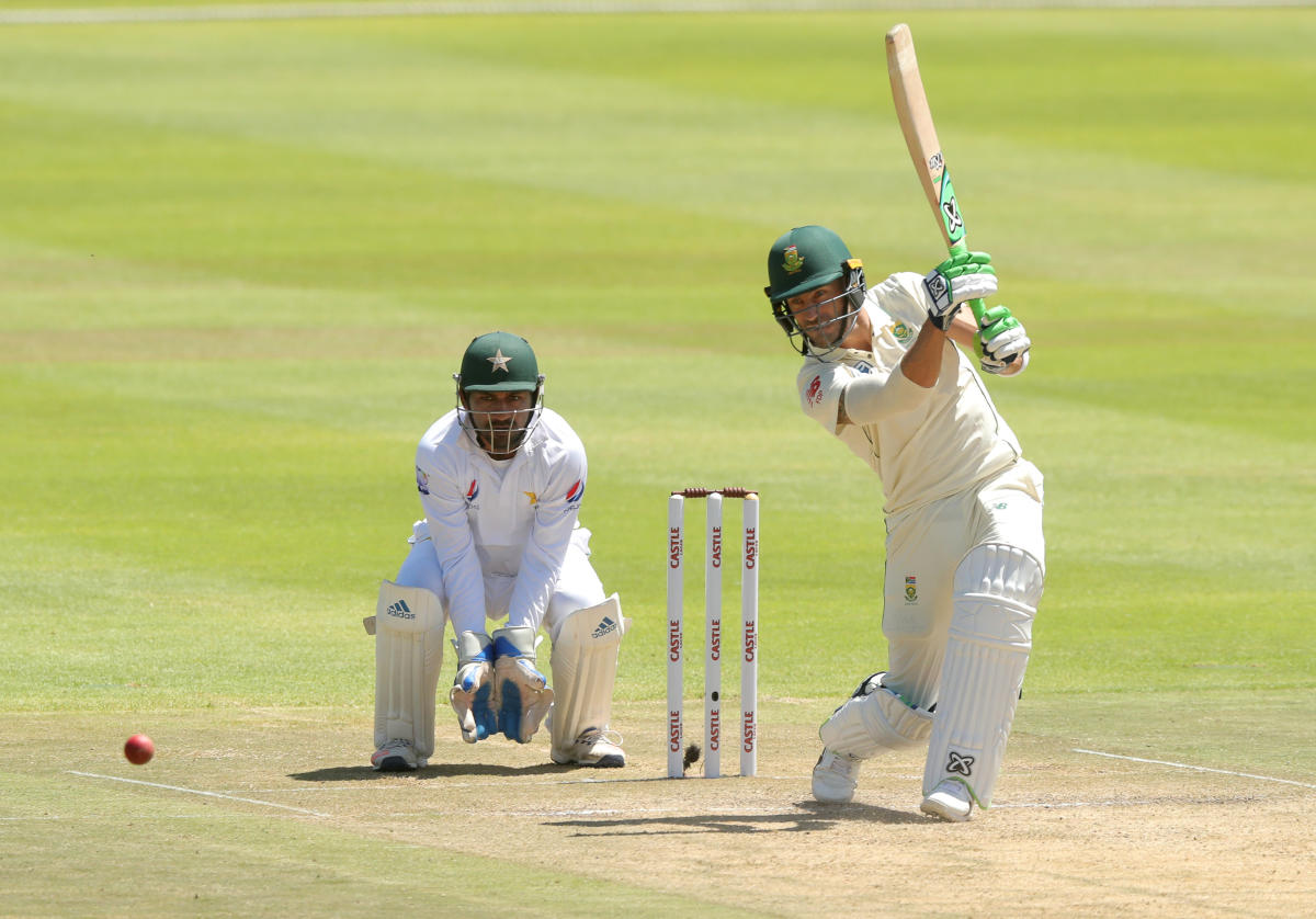 South Africa's Faf du Plessis drives one to the fence en route his 103 against Pakistan. Reuters