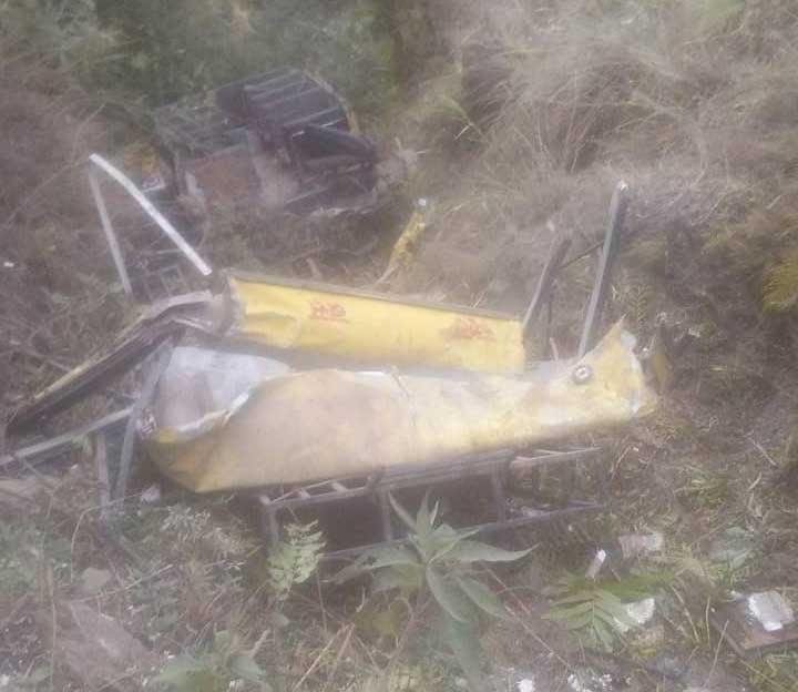 Six children and the driver of their school bus were killed on Saturday when the vehicle fell into a gorge in Himachal Pradesh's Sirmaur district, police said. (Image courtesy ANI/Twitter)