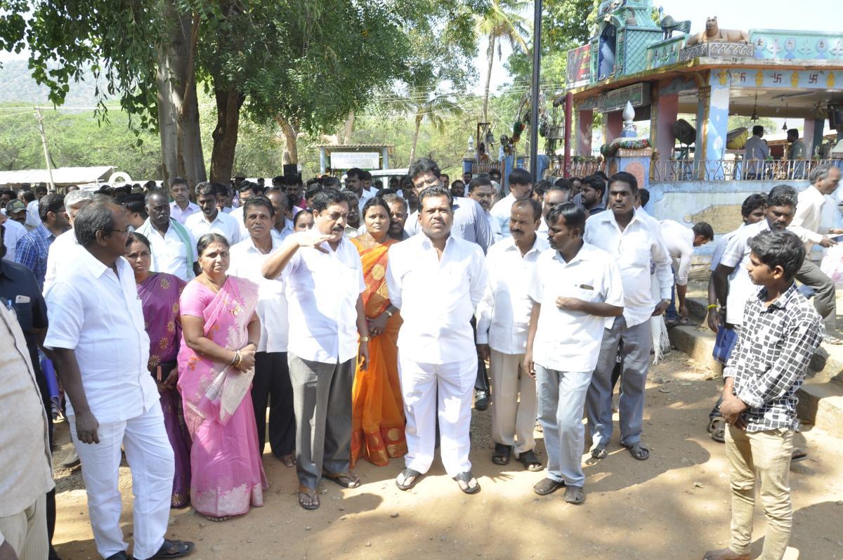 Muzrai Minister K T Parameshwar Naik, during his visit to the Maramma temple in Sulvadi village, Hanur taluk, Chamarajanagar district, on Saturday.