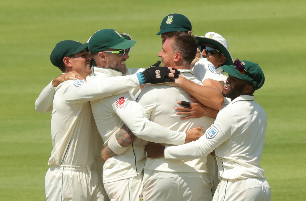 South Africa's Dale Steyn (centre) is mobbed by team-mates after dismissing Pakistan's Shan Masood on Saturday. REUTERS