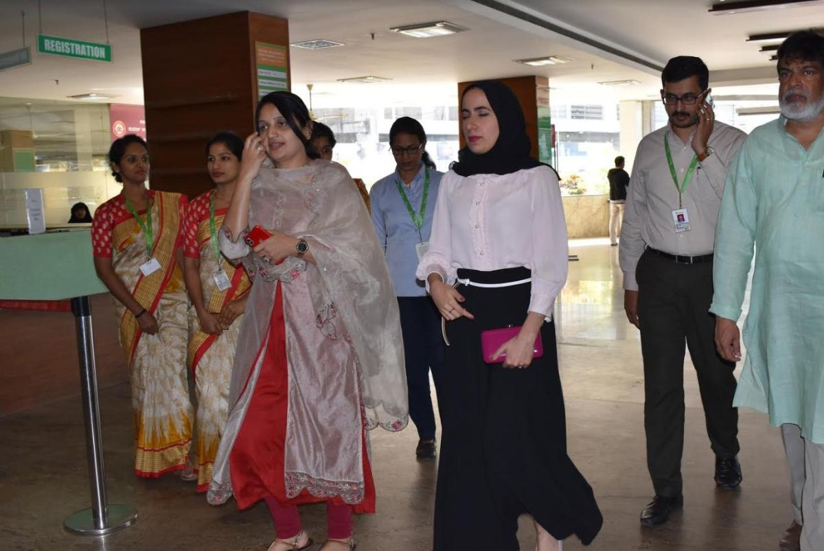 Bahrain Princess Shaikha Noora bint Khalifa Al Khalifa and higher officials from Oman and Bahrain ministries visited Indiana Hospital and Heart Institute, in Mangaluru on Friday.
