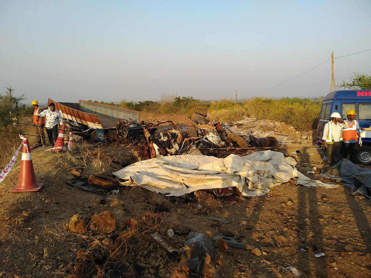 The lorry and the car that were involved in a gruesome road accident, near Nippani in Belagavi district on Saturday, have been reduced to a heap of metal. DH PHOTO