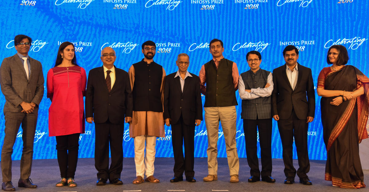 Infosys Science Foundation awardees with K Dinesh, Co Founder, Infosys Limited, Prof Manjul Bhargava R, Brandon Fradd Professor of Mathematics and Narayana Murthy, Founder, Infosys Limited at a award presentation programme in Bengaluru on Saturday. (DH Photo/S K Dinesh)