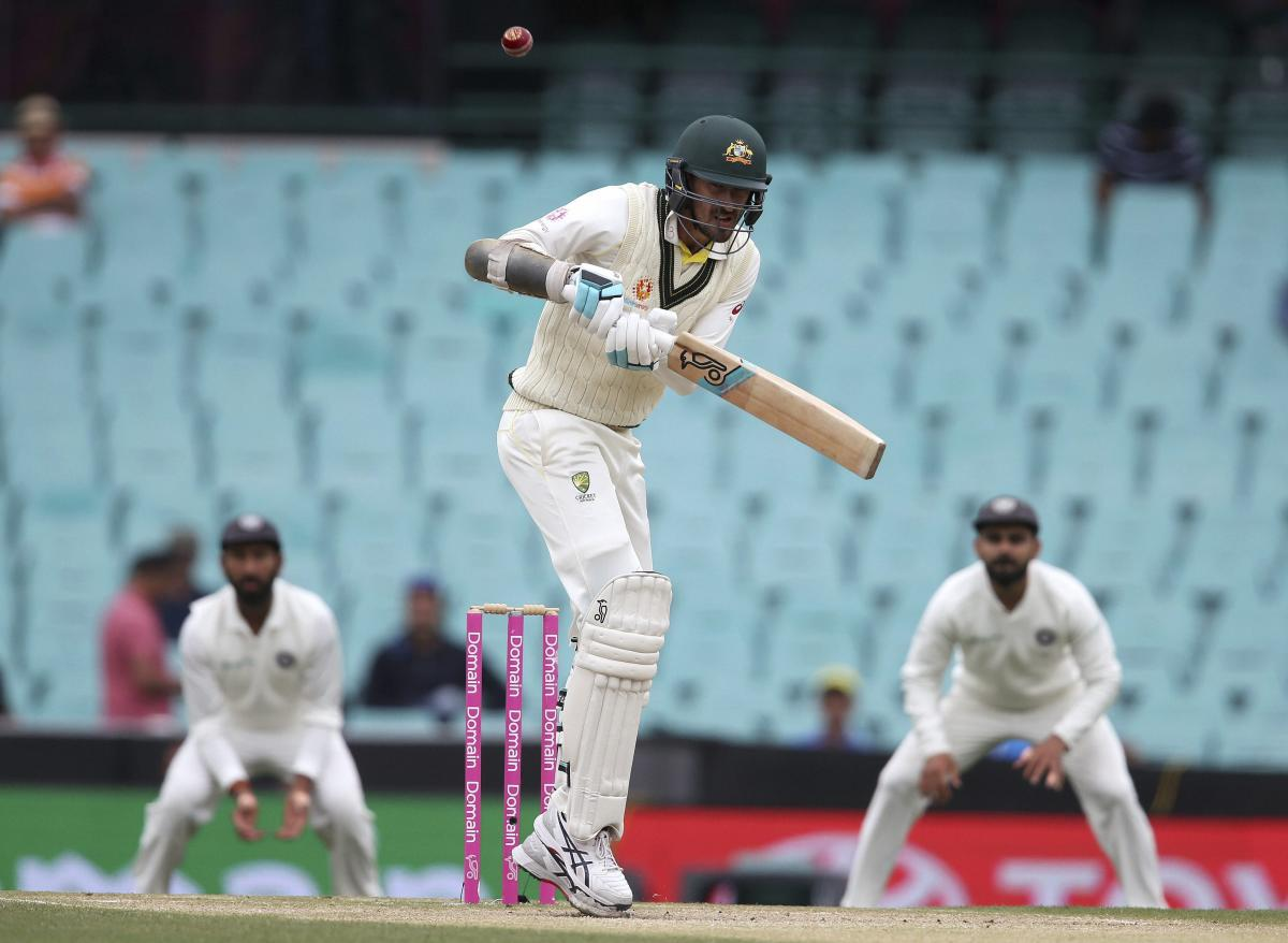 Australia's Mitchell Starc lets a high ball go past on day 4 of their cricket test match against India in Sydney, Sunday, Jan. 6, 2019. AP/PTI