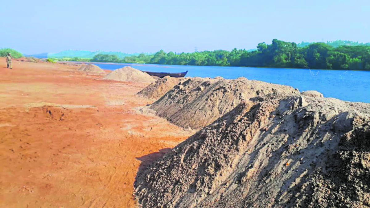 A file photo of sand seized in Adyar.