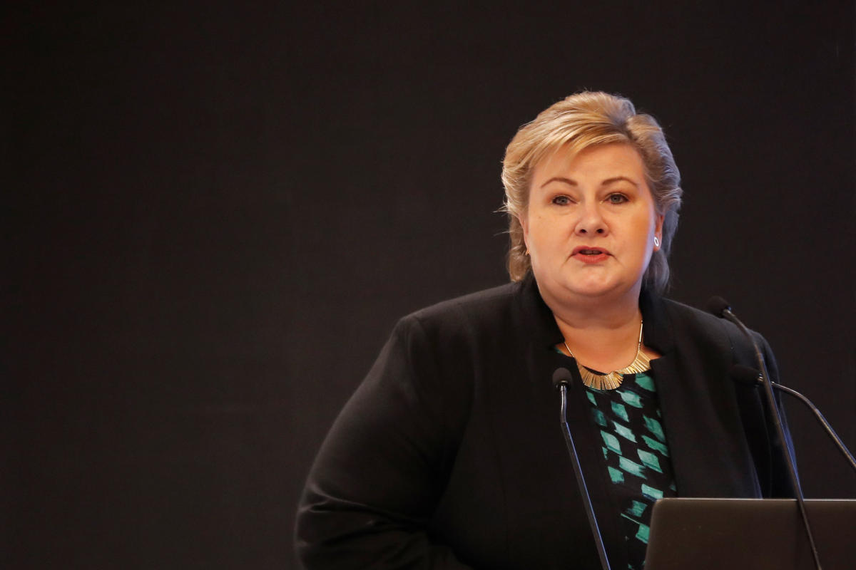 Norway's Prime Minister Erna Solberg speaks during India-Norway Business Conference in New Delhi, India, January 7, 2019. REUTERS