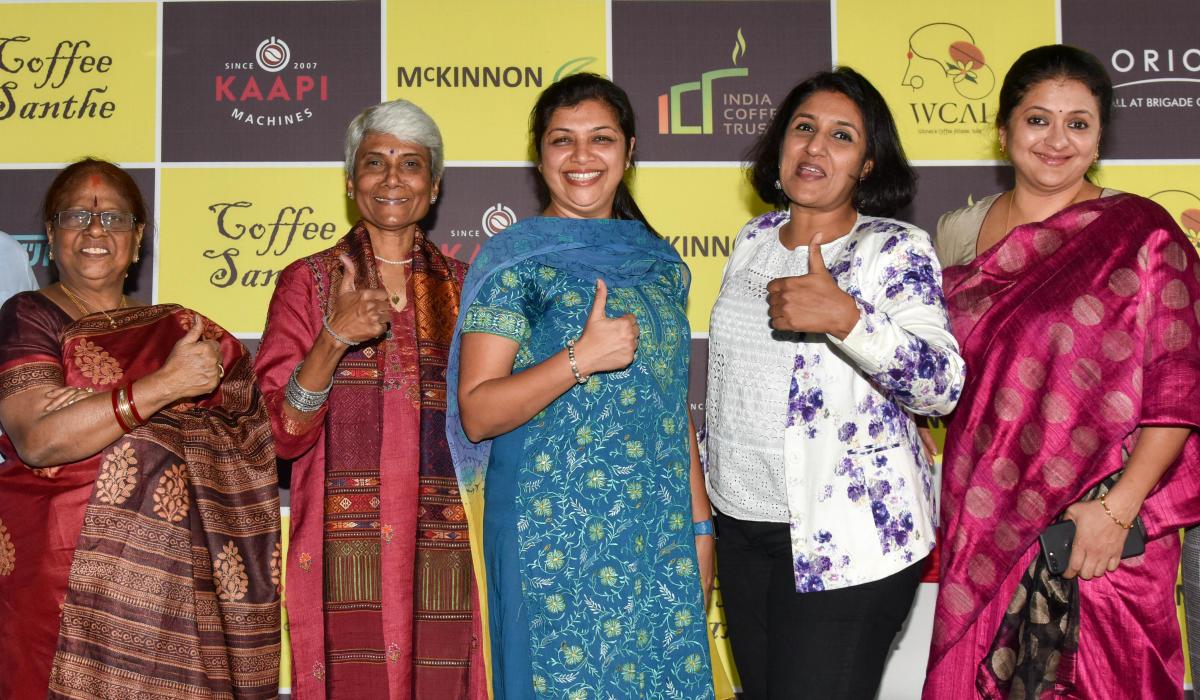 The office-bearers of Women's Coffee Alliance-India (from left) Renuka Gangadhar, Sunalini Menon, Radhika Uthappa, Urvashi Malhotra and Hamsini Appadurai at a press conference on Monday. DH PHOTO/B H SHIVAKUMAR