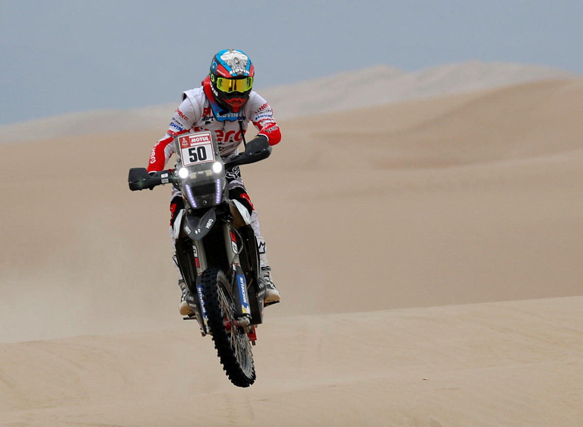 TACKLED WELL: Hero Motorsports' C S Santosh competes in the first stage of the Dakar Rally on Monday. REUTERS