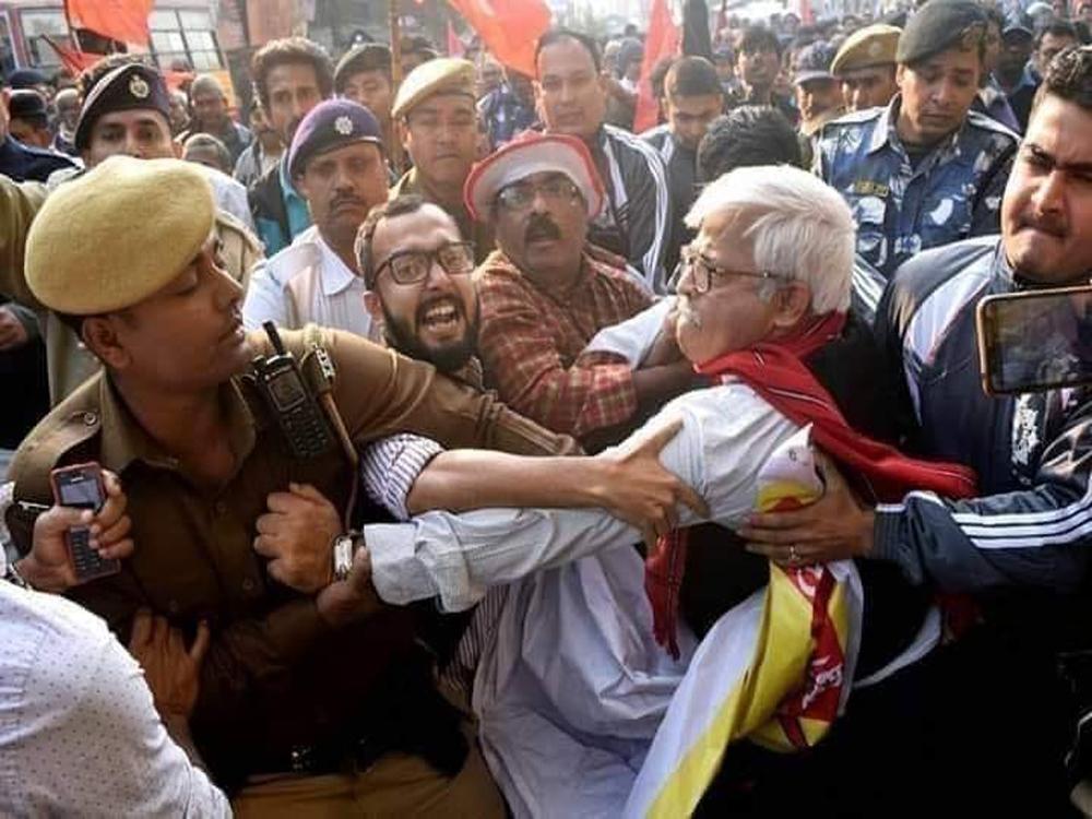 CPI(M) MLA Sujan Chakraborty in a scuffle with police.