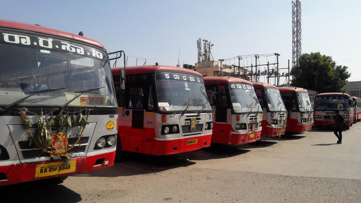 KSRTC buses booked on an casual contract for piligrimage to Melmaruvathur in Tamil Nadu halted at the Kempegowda Bus Station following Bharath bandh. DH Photo