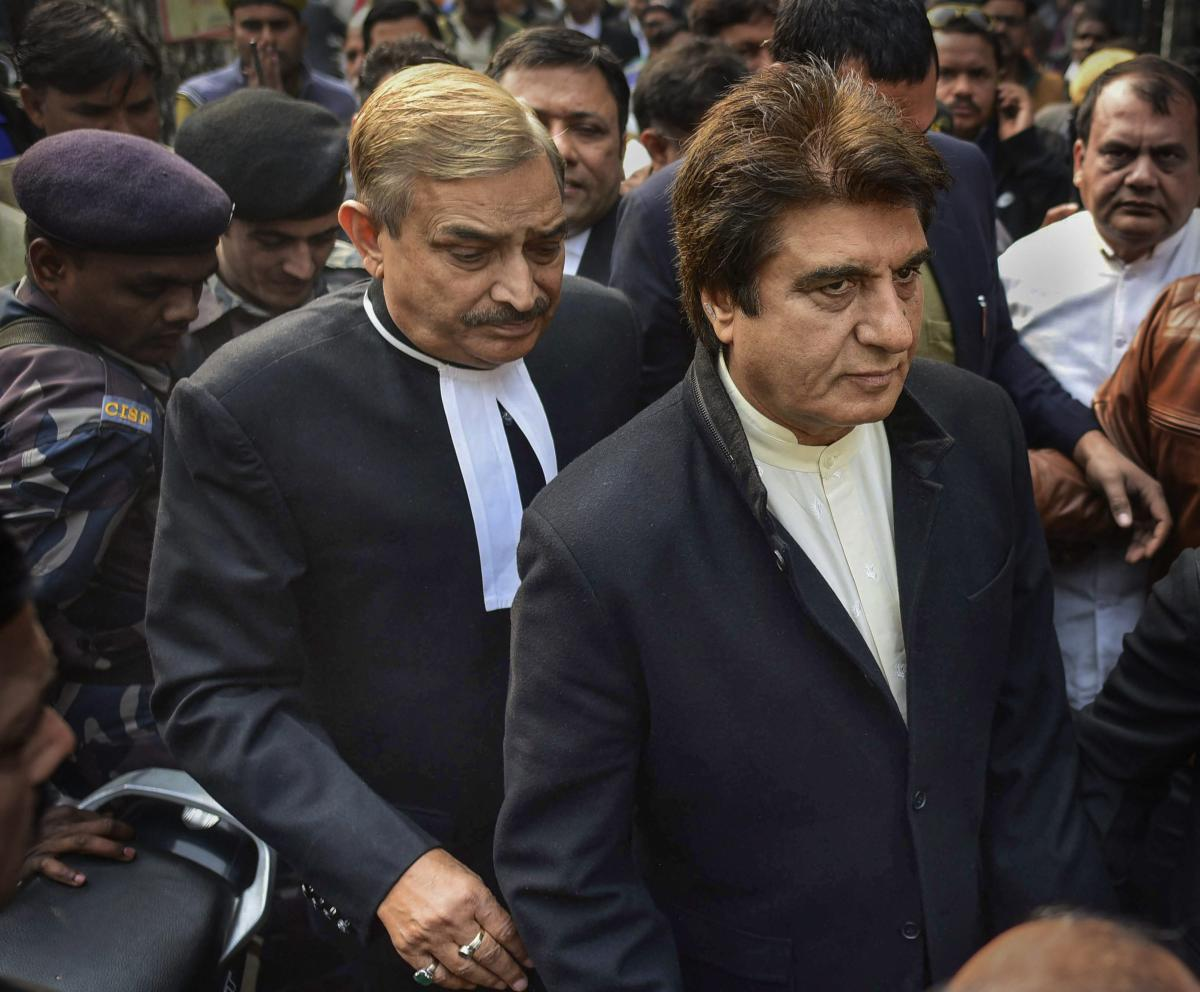 Uttar Pradesh Congress chief Raj Babbar with Rajya Sabha MP Congress leader Pramod Tiwari being produced in a special court in connection with a case, in Allahabad, Monday, Jan 7, 2019. PTI