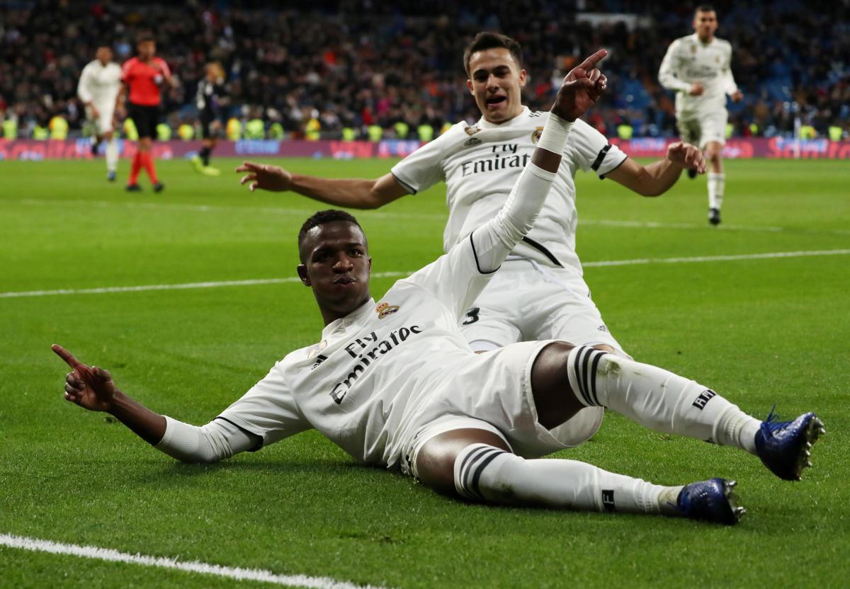 Real Madrid's Junior Vinicius (bottom) celebrates after scoring against Leganes. REUTERS