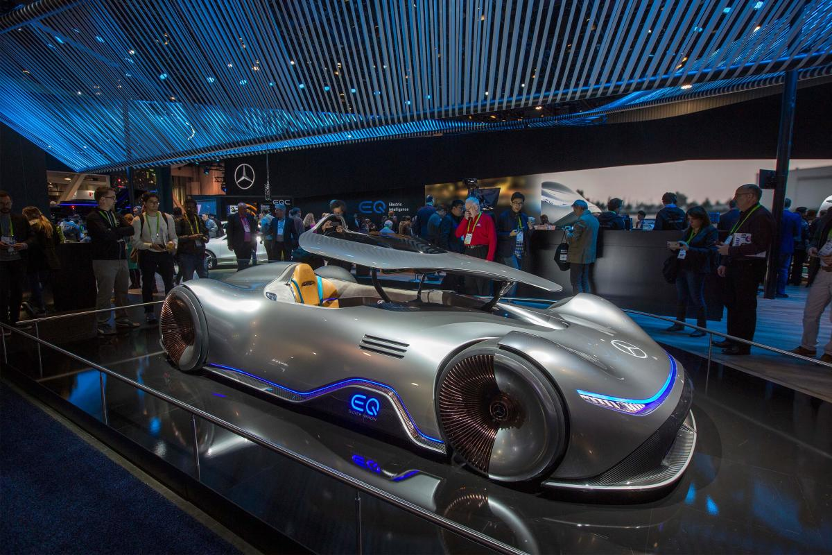 The Mercedes-Benz EQ Silver Arrow, an electric powered homage to the record-breaking W 125 car from 1937, is displayed at the Las Vegas Convention Center during CES 2019. AFP