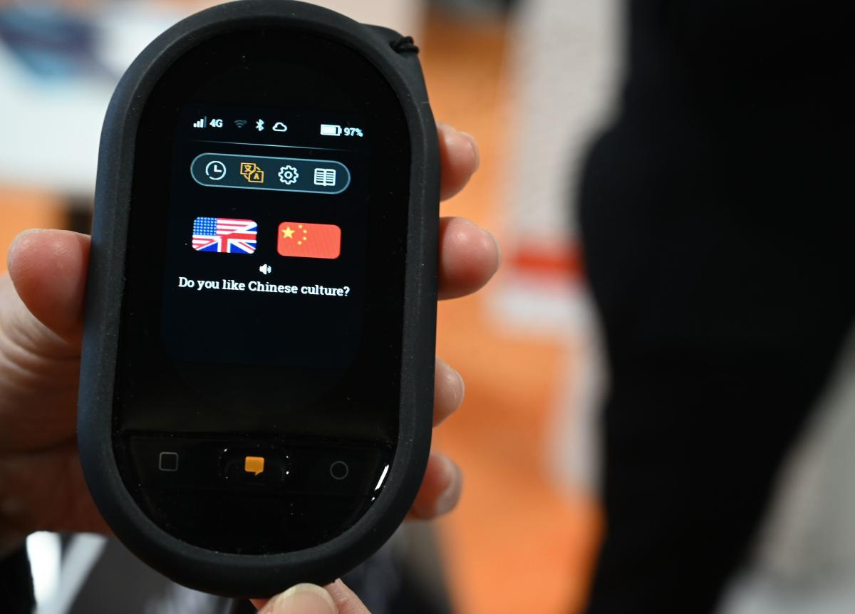The Travis Touch pocket translator is displayed at CES 2019 consumer electronics show, on January 9, 2019 at the Las Vegas Convention Center in Las Vegas. AFP