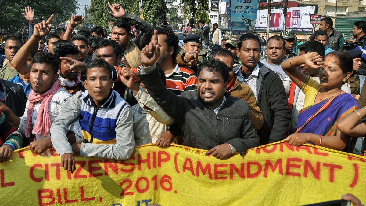 Activists of various indigenous organizations stage a protest rally in front of Assam Secretariat against the Citizenship (Amendment) Bill, 2016, in Guwahati. PTI