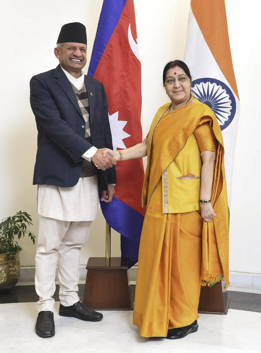 External Affairs Minister Sushma Swaraj greets her Nepali counterpart Pradeep Kumar Gyawali, in New Delhi on Thursday. PTI