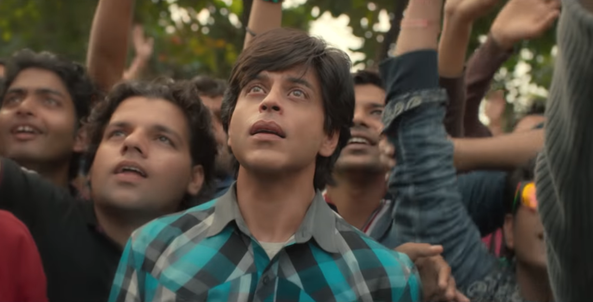 In the Shah Rukh Khan film Fan, he plays a movie star and an obsessed fan. This picture shows the young fan gaping at the star when he makes an appearance.