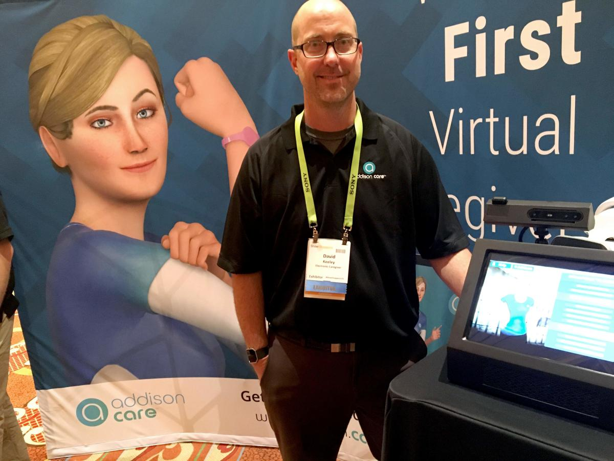 David Keeley of SameDay Security debuts the Addison Virtual Caregiver system at the Consumer Electronics Show in Las Vegas. AFP.