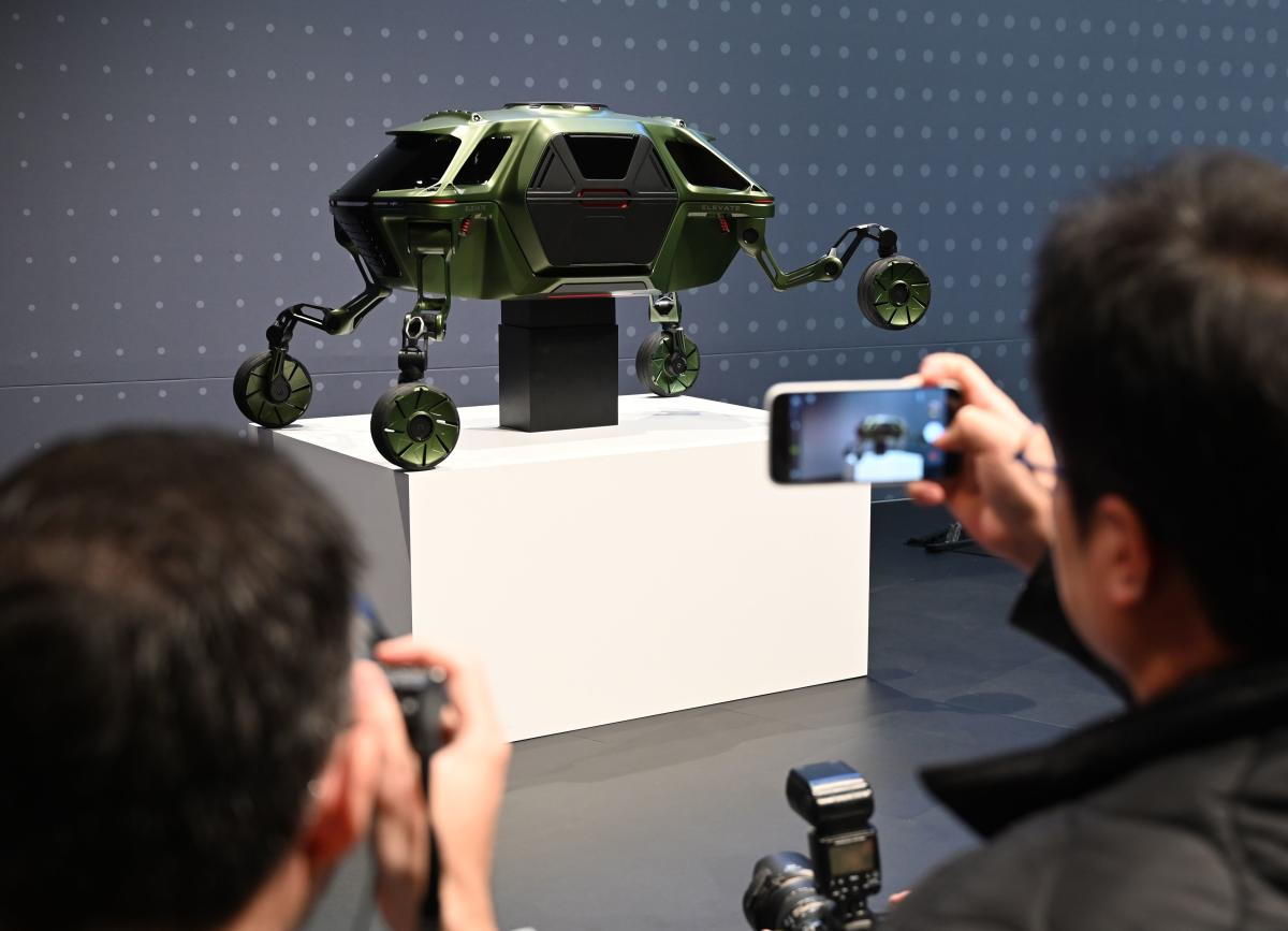 "The Hyundai Elevate, an ""Ultimate Mobility"" concept vehicle, is displayed during the Hyundai press conference during CES 2019. AFP"